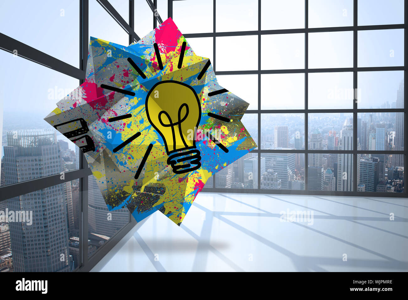 Light bulb on abstract screen against room with large window showing city Stock Photo