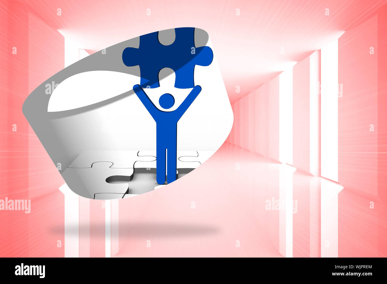Figure holding jigsaw piece on abstract screen against bright red room with windows Stock Photo