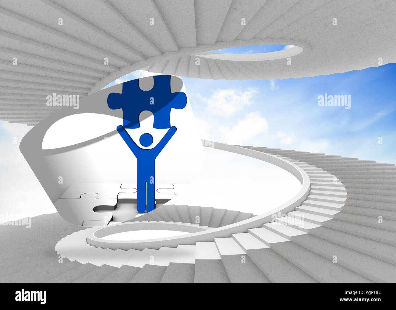 Figure holding jigsaw piece on abstract screen against spiral staircase in the sky Stock Photo