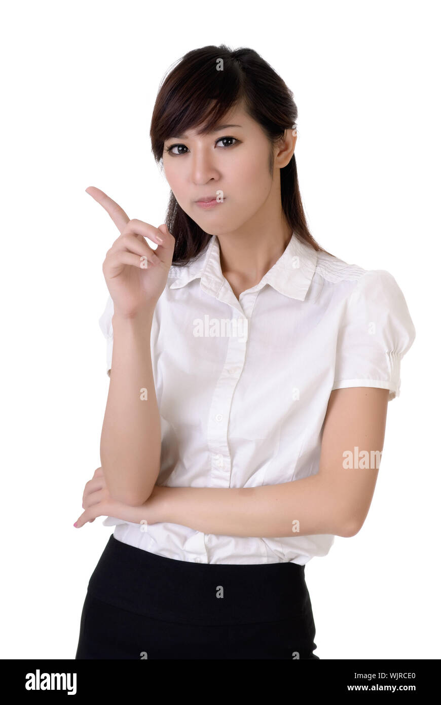 Closeup portrait of business woman reject you with confident