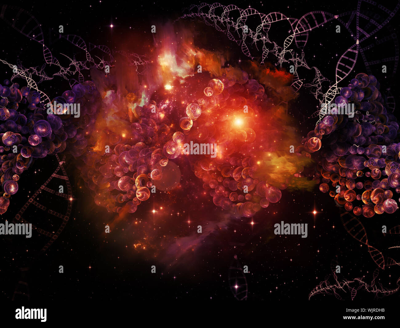 Molecular Dreams series. Background design of conceptual atoms, molecules and fractal elements on the subject of biology, chemistry, technology, scien - Stock Photo