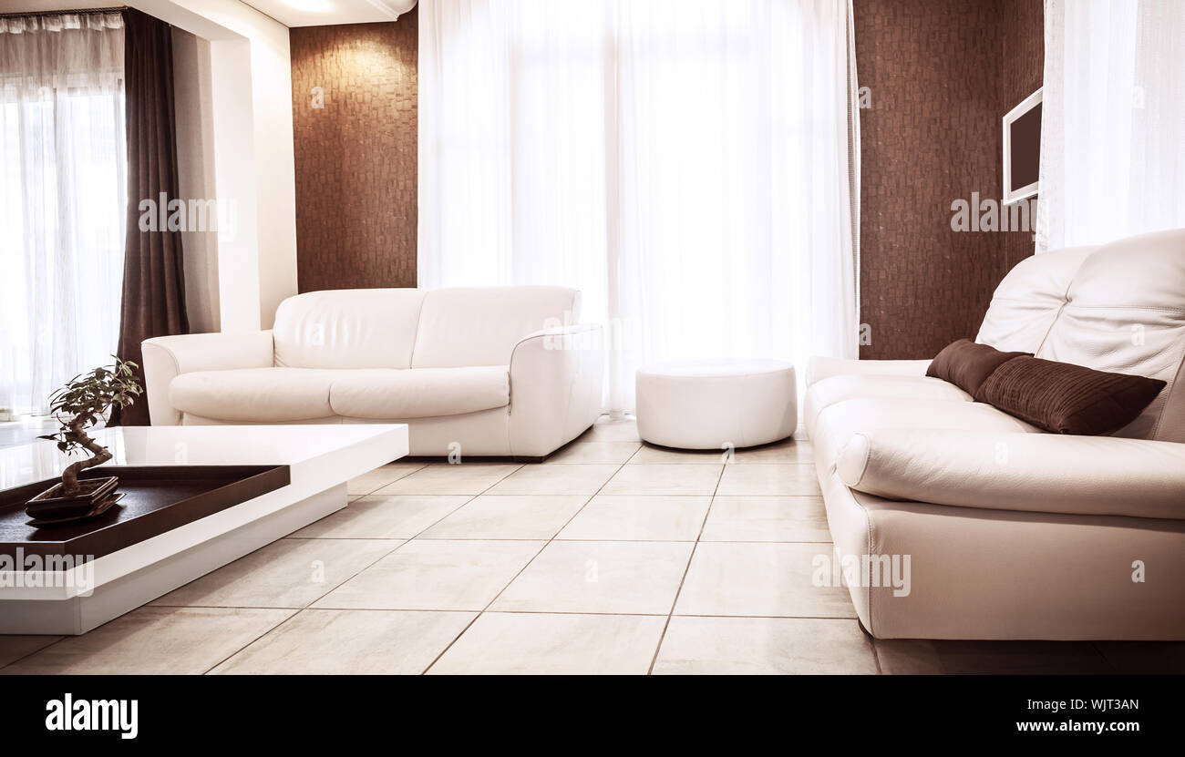 Luxury Apartment Design White Leather Couch Luxurious Table Brown Decoration Stylish Living Room Modern Home Interior Concept Stock Photo Alamy
