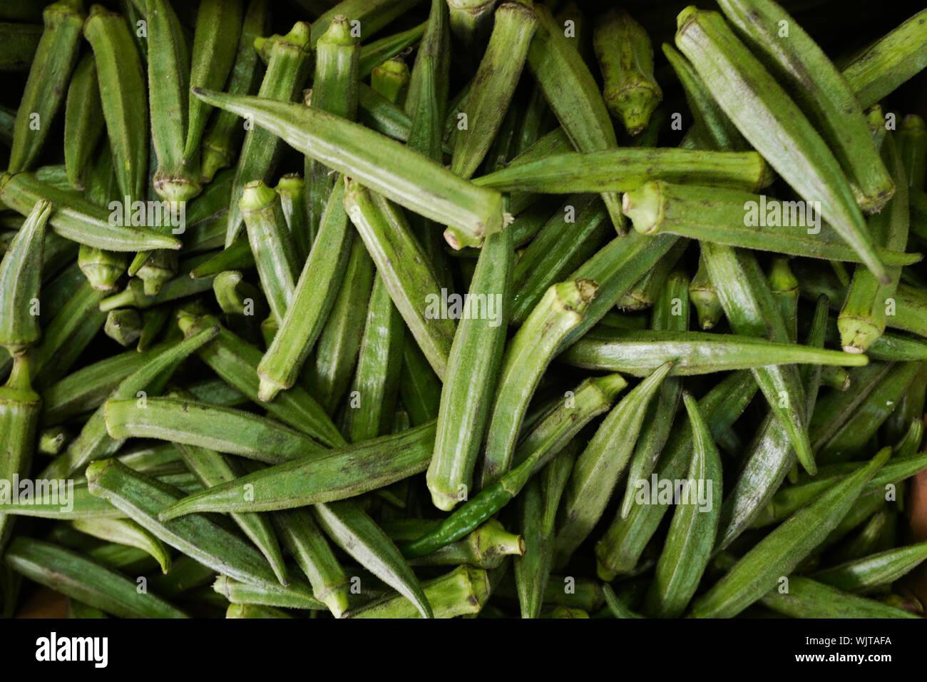 Full Frame Shot Of Okra For Sale At Market Stock Photo