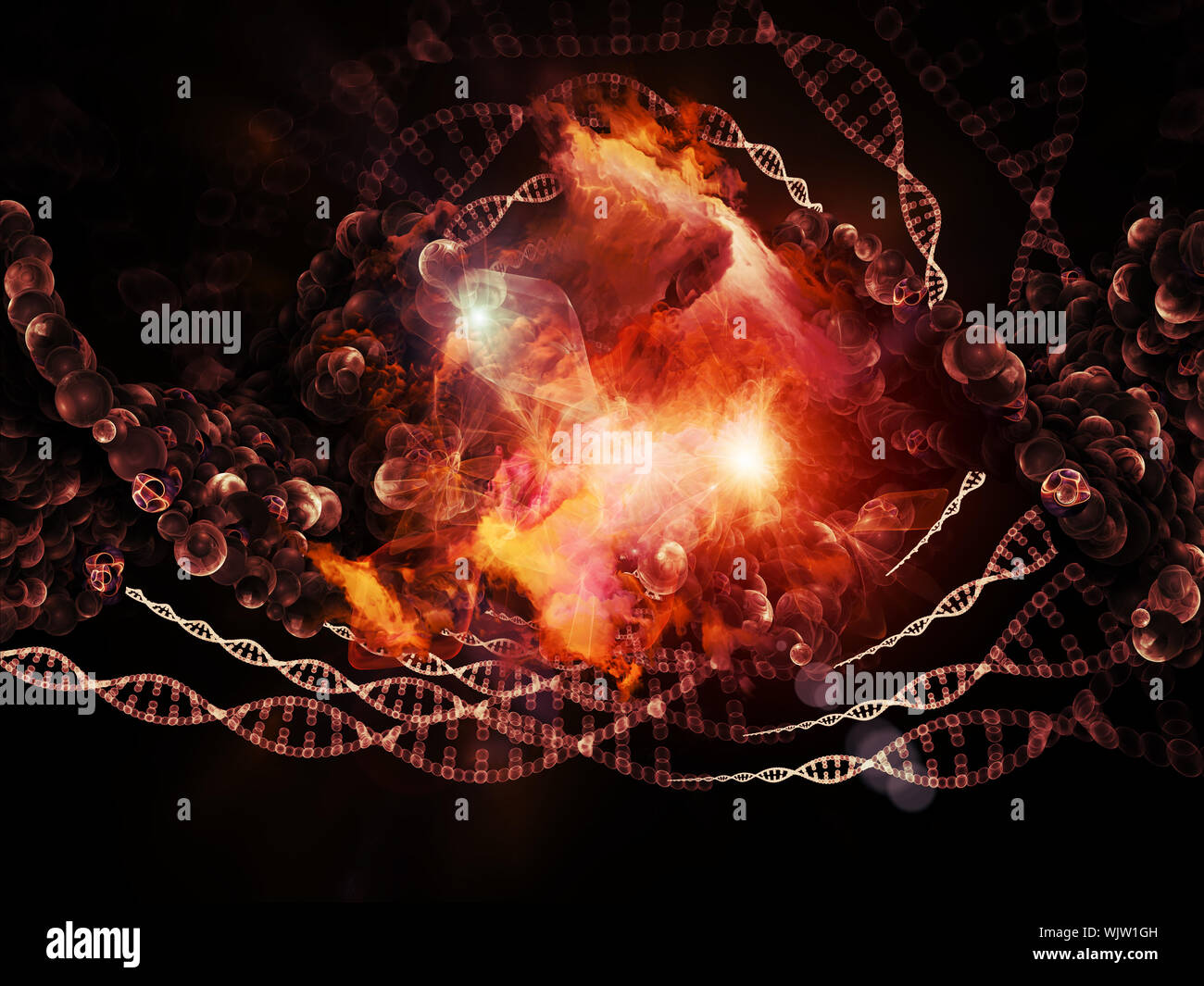 Molecular Dreams series. Background design of conceptual atoms, molecules and fractal elements on the subject of biology, chemistry, technology, scien Stock Photo