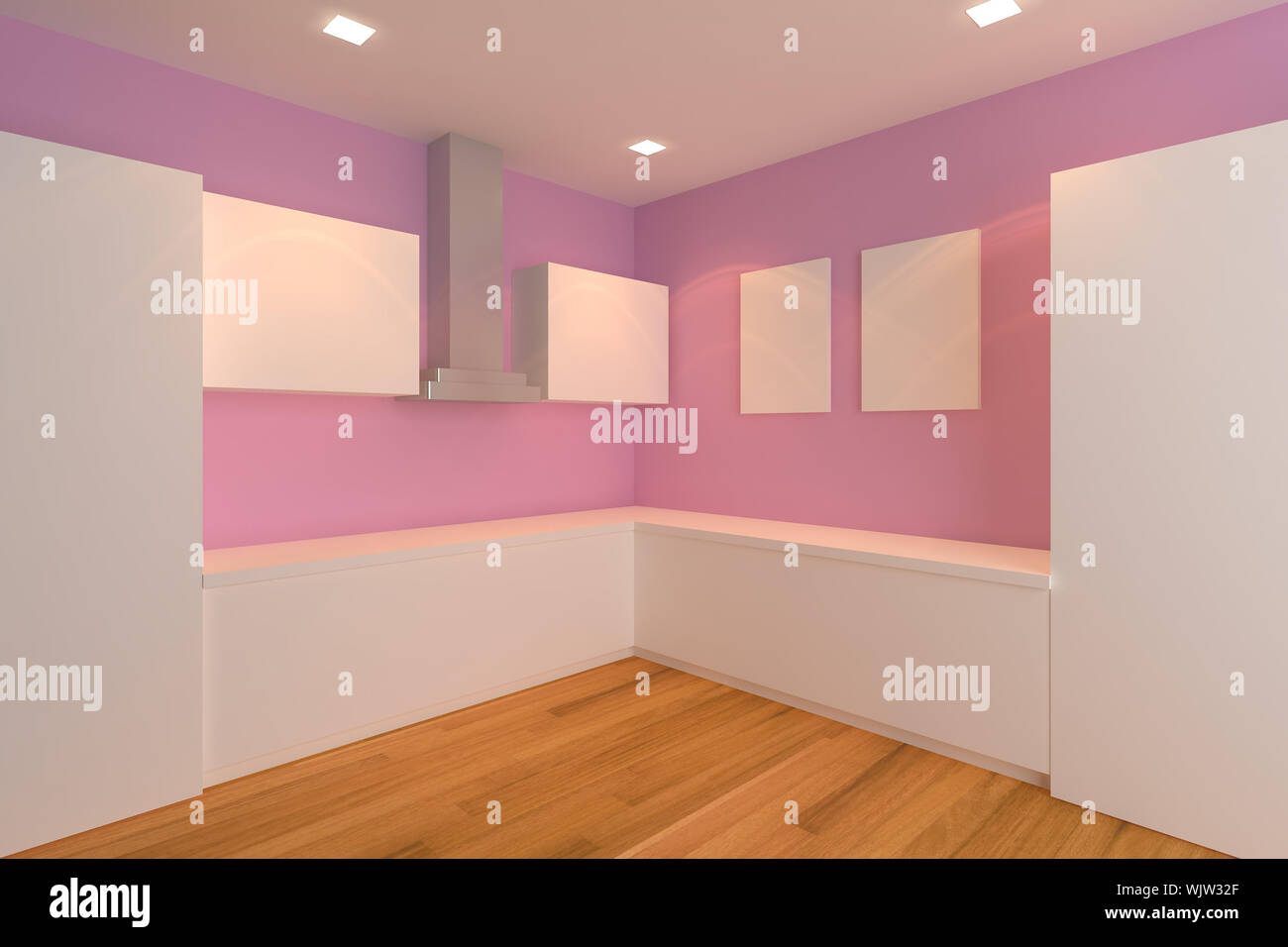 Empty Interior Design For Kitchen Room With Pink Wall Stock Photo Alamy