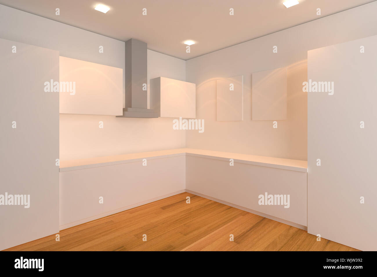 empty interior design for kitchen room with white wall Stock Photo