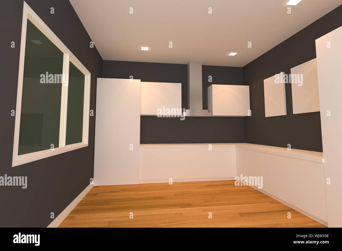 empty interior design for kitchen room with black wall Stock Photo