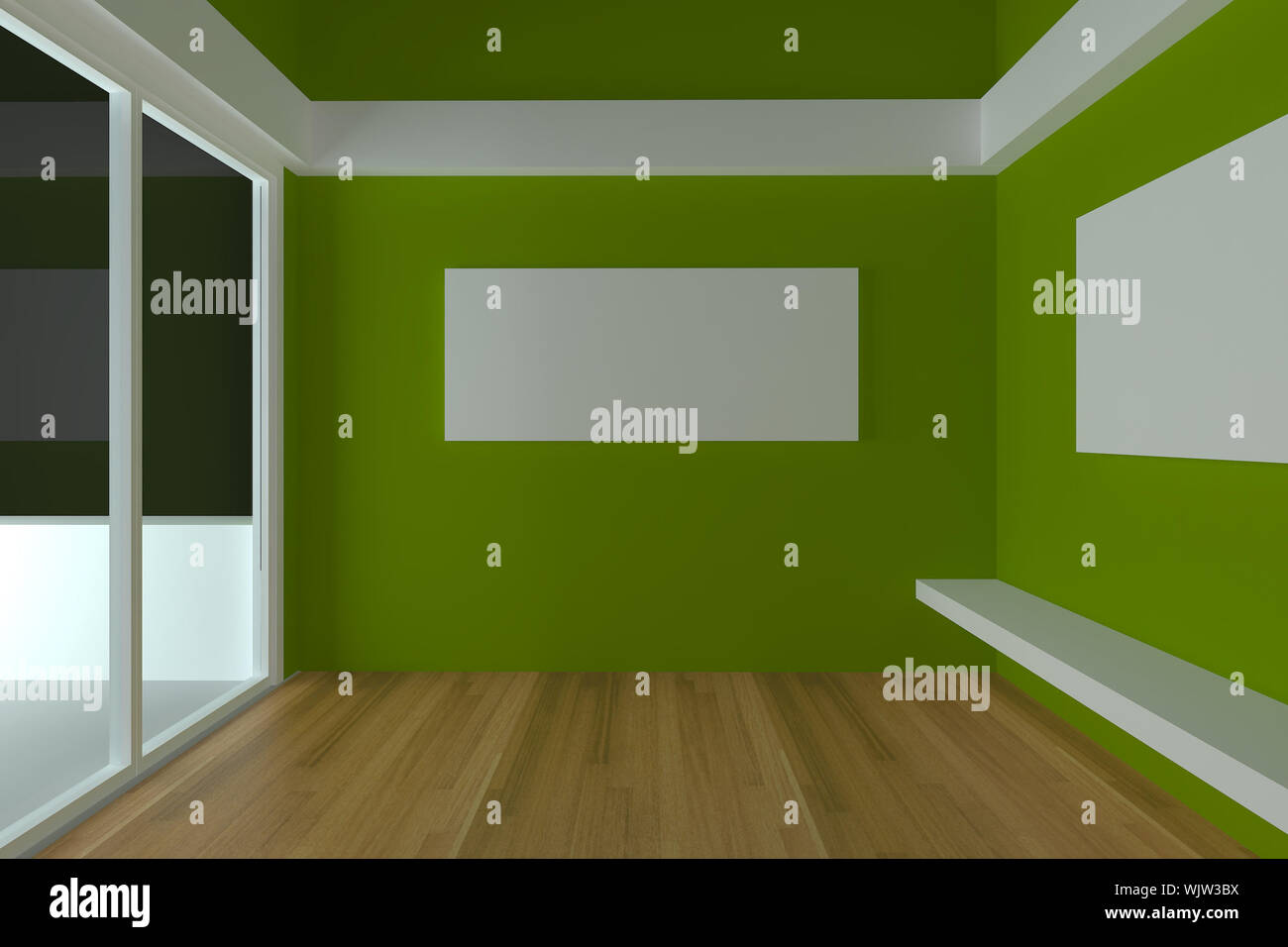 Home Interior Rendering With Empty Room Color Green Wall And Decorated With Wood Floors Stock Photo Alamy