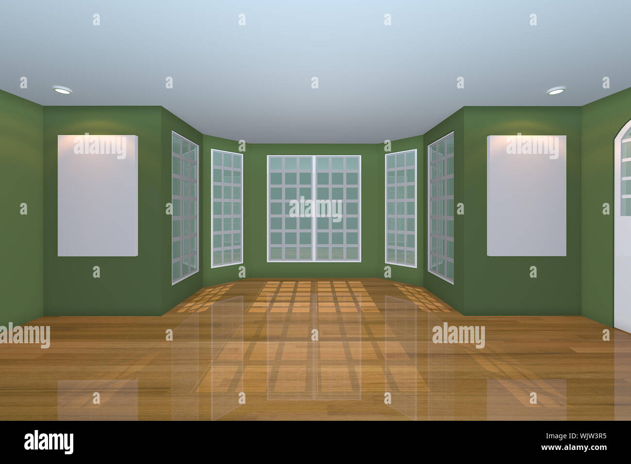 Home Interior Rendering With Empty Room Color Green Wall And Decorated With Wooden Floors Stock Photo Alamy