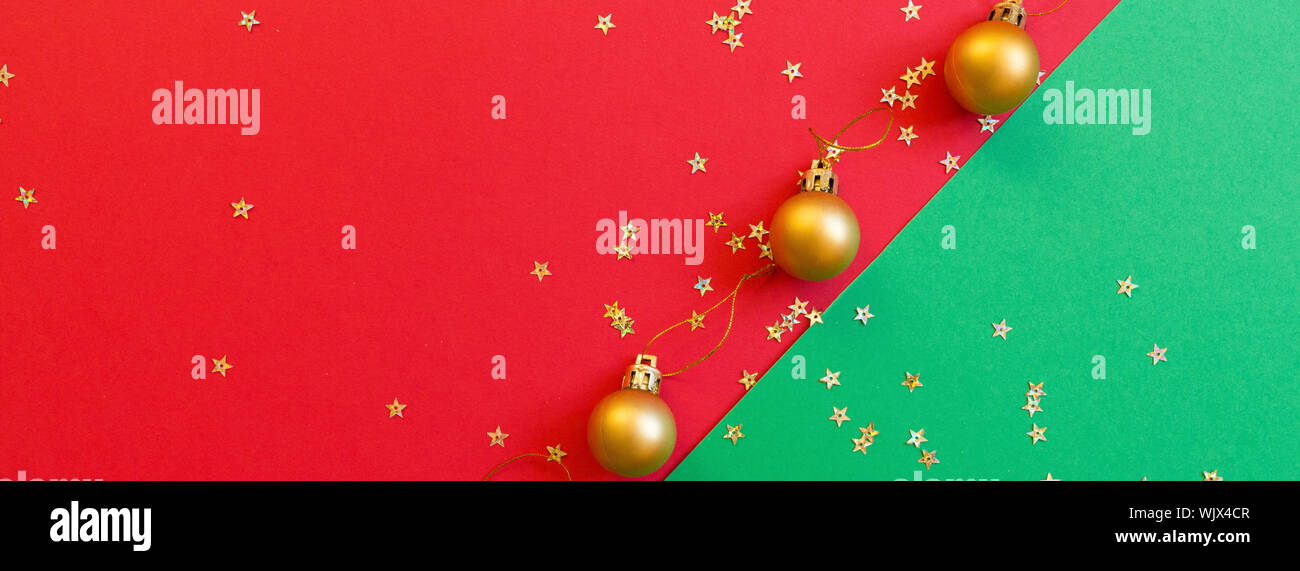 Top Christmas Toys 2020.Christmas Composition Golden Toy On Red And Green