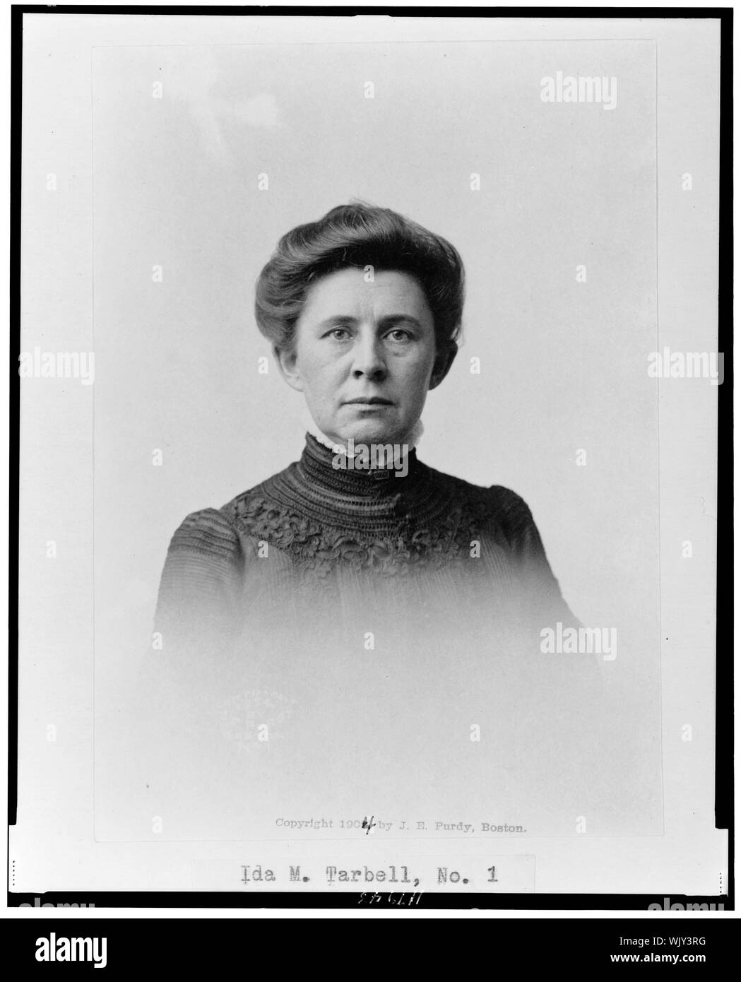 Ida Minerva Tarbell (1857-1944), head-and-shoulders portrait, facing front. - Stock Photo