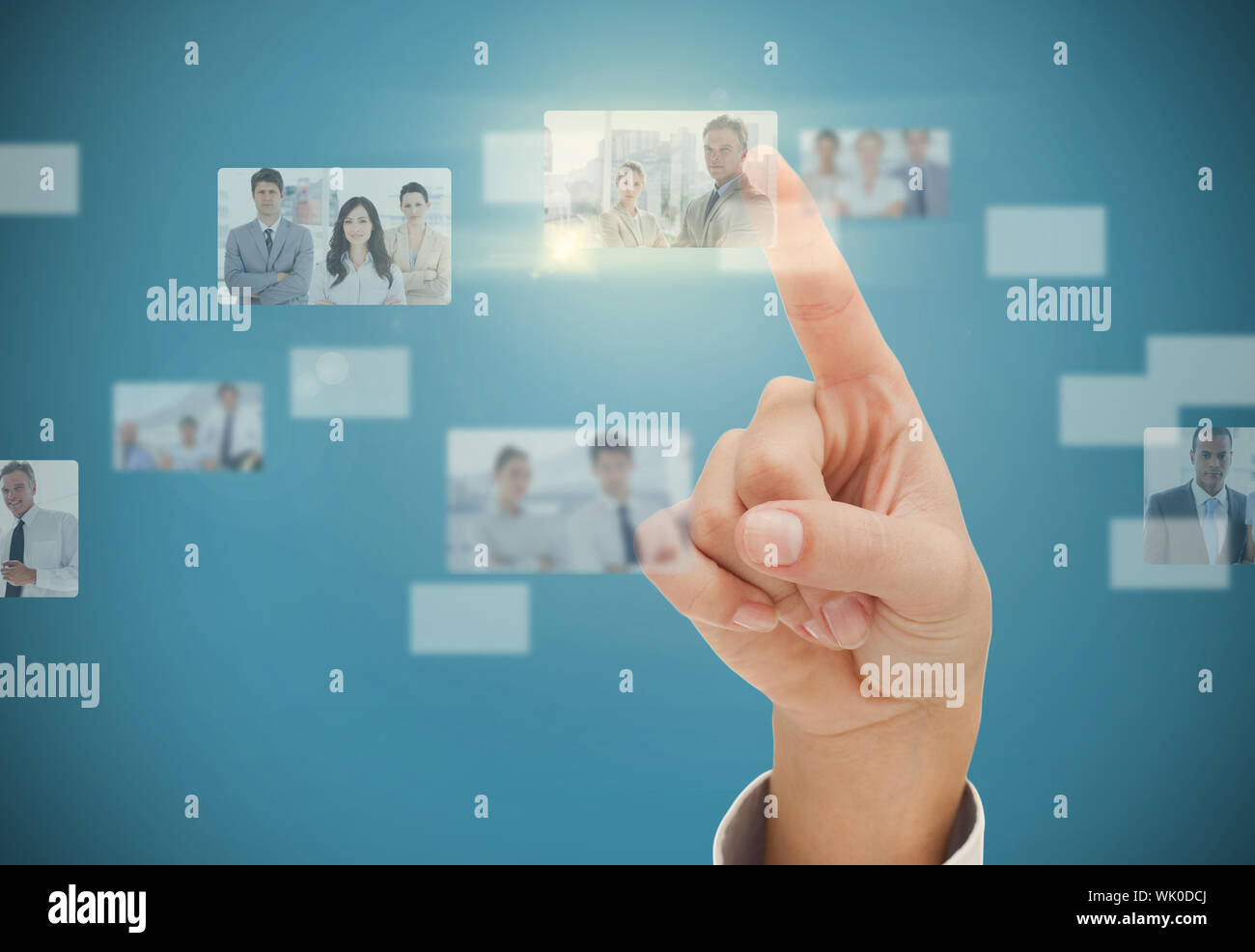 Womans finger selecting digital interface Stock Photo
