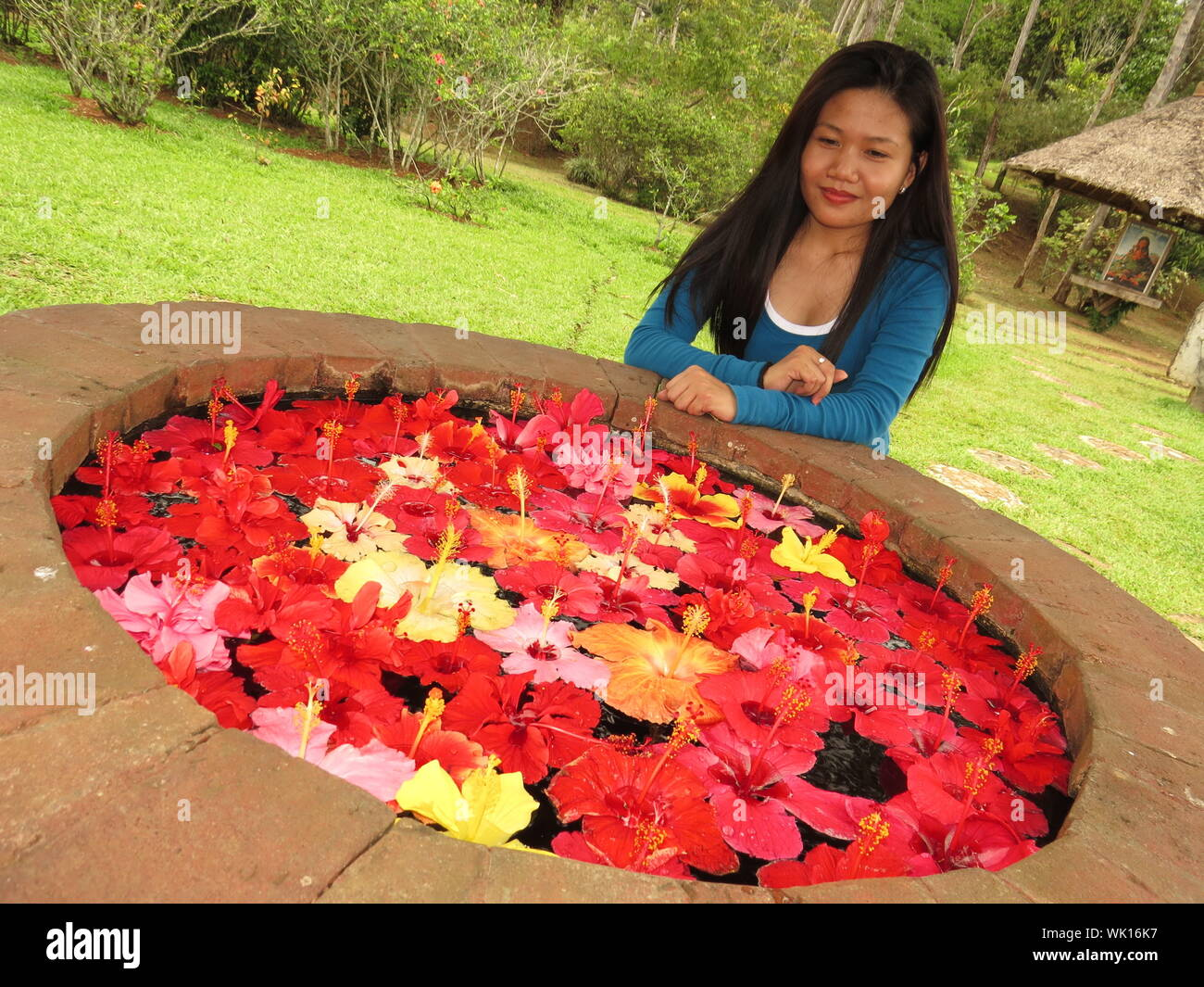 Young Woman Looking At Hibiscus Flowers Floating On Water In Park Stock Photo Alamy