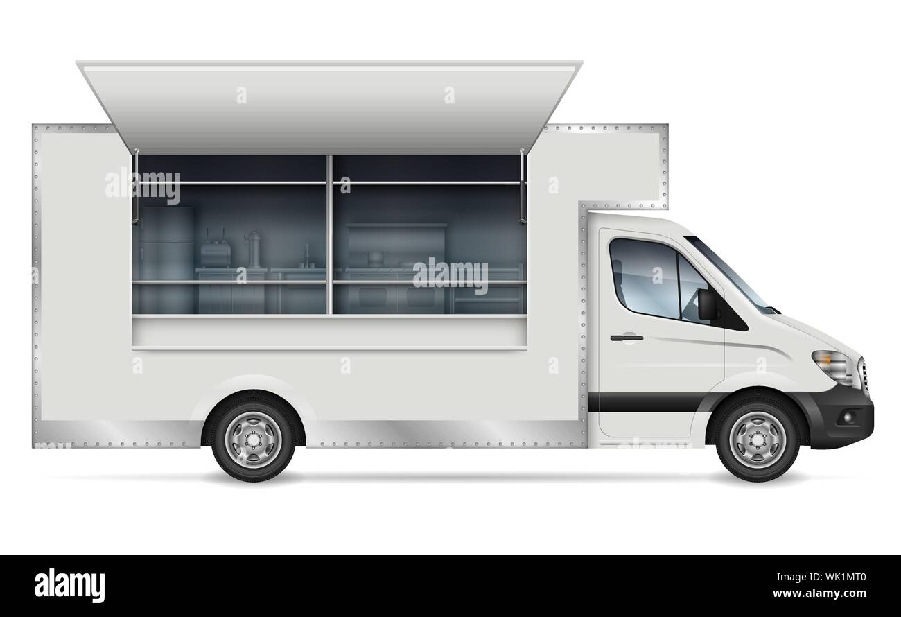 Food truck vector mockup for vehicle branding, advertising, corporate identity. Isolated template of mobile kitchen van side view on white background. Stock Vector