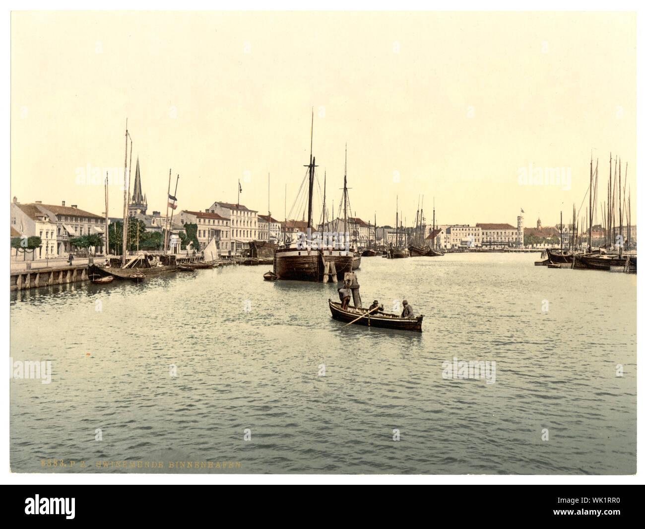 Inner harbor, Swinemunde, Pomerania, Germany (i.e., Świnoujście, Poland) Stock Photo