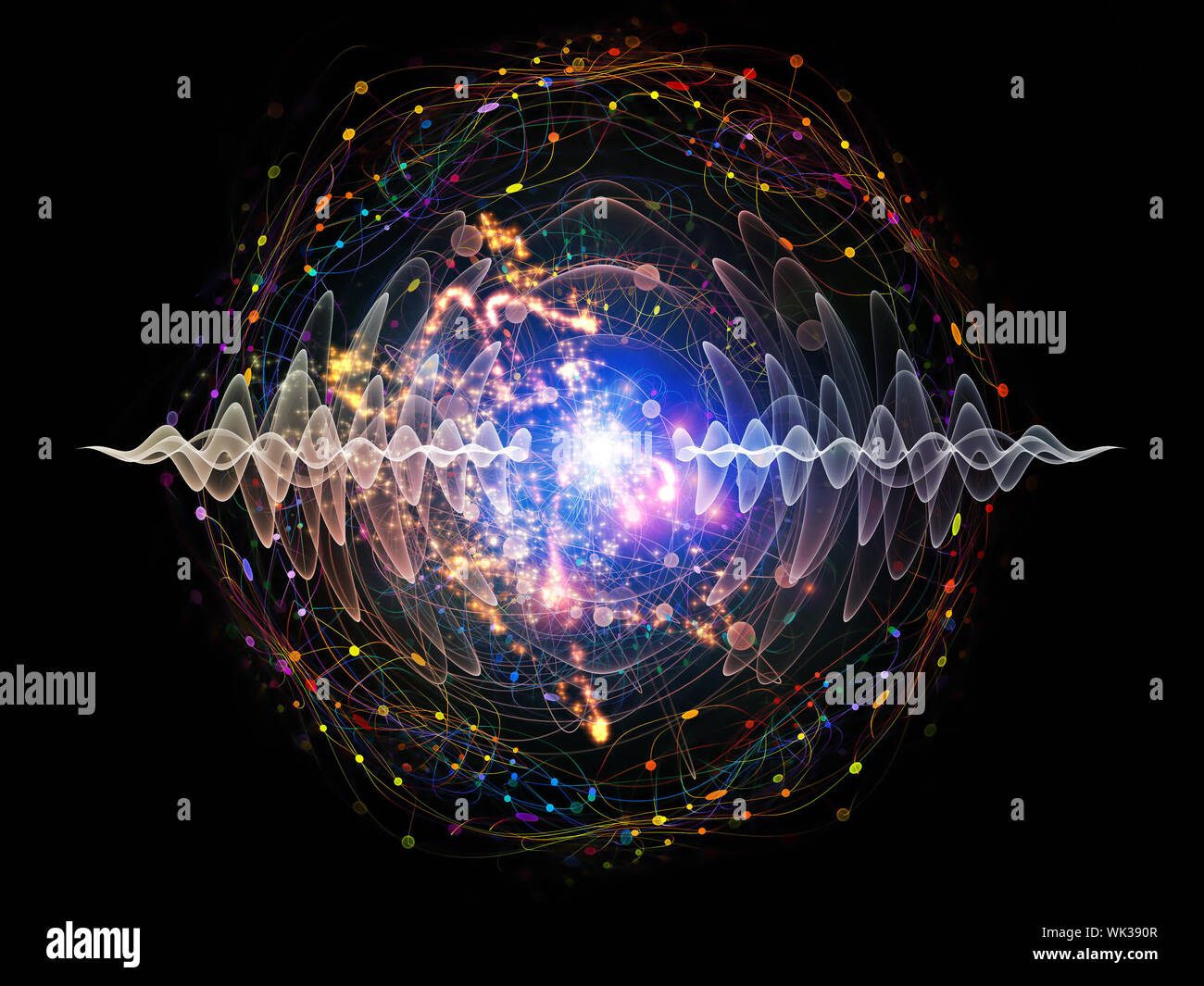 Elementary Particles series. Interplay of abstract fractal forms on the subject of nuclear physics, science and graphic design. Stock Photo