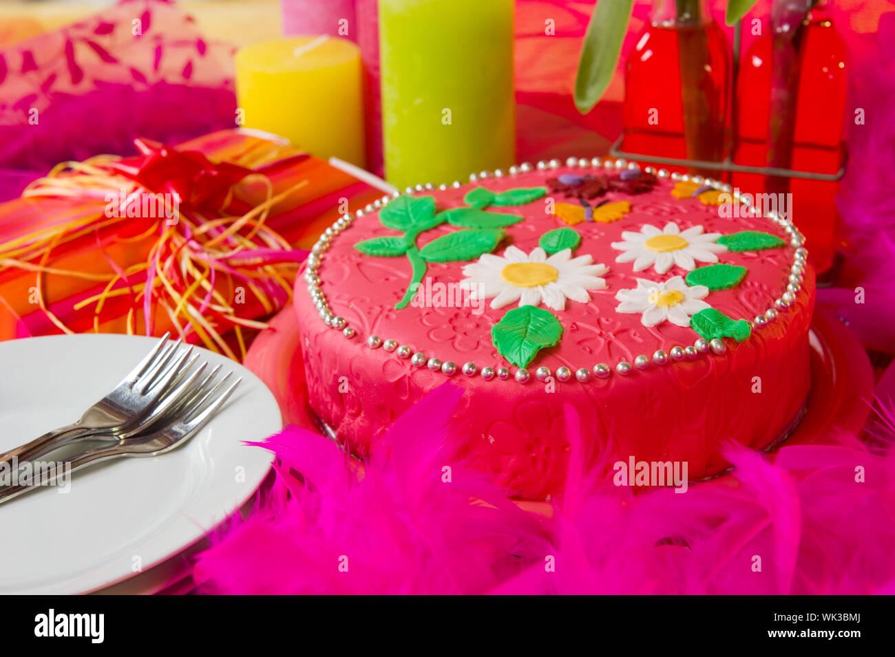 Outstanding Pink Birthday Cake Flowers Butterflies Stock Photos Pink Personalised Birthday Cards Akebfashionlily Jamesorg