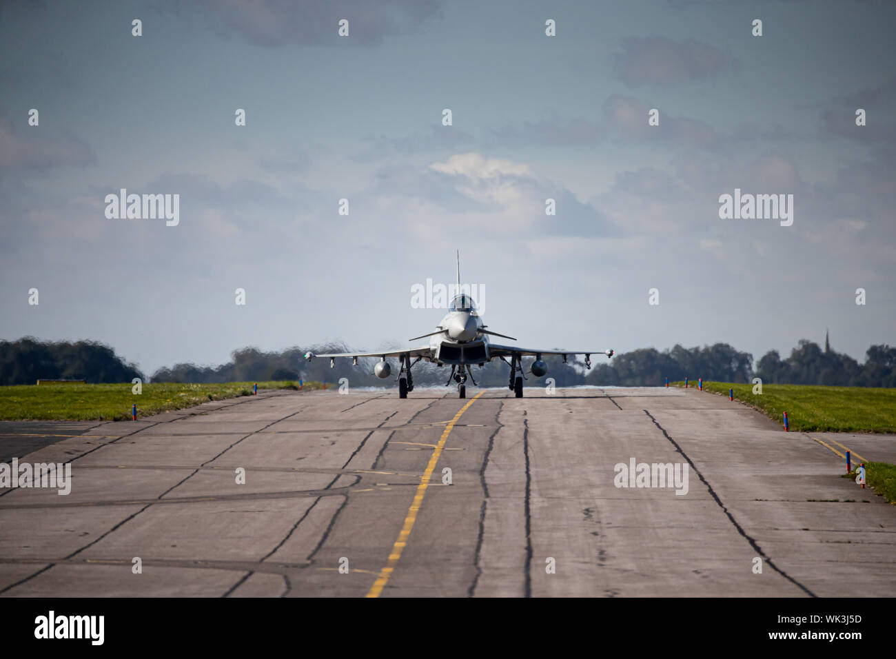 Italian Air Force Typhoons at RAF Waddington, Lincolnshire, UK. Taking part in Exercise Cobra Warrior 2019. Stock Photo