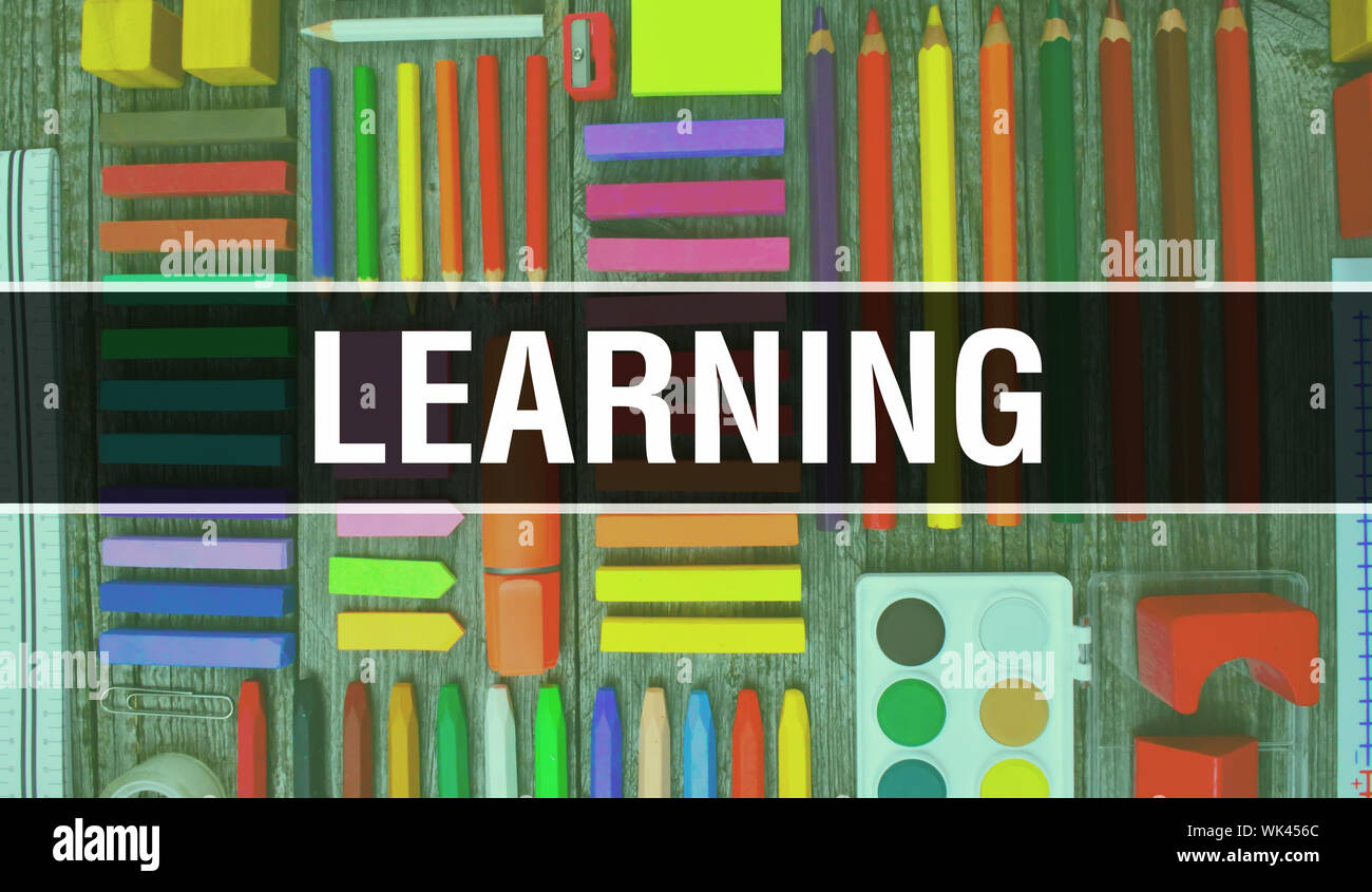 Learning Text With Back To School Wallpaper Learning And School Education Background Concept School Stationery And Learning Text Banner With Colorfu Stock Photo Alamy