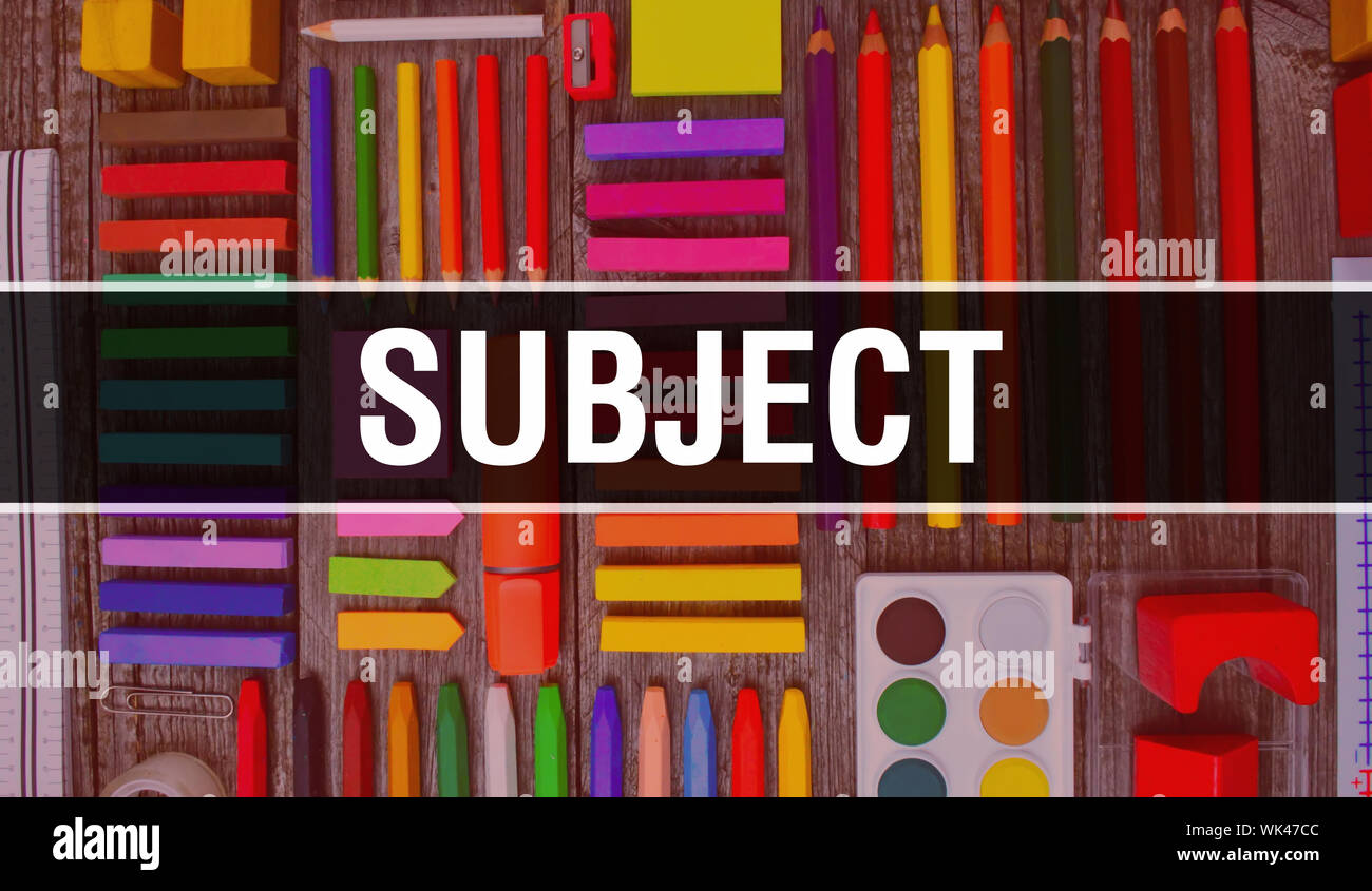 Subject Text With Back To School Wallpaper Subject And School Education Background Concept School Stationery And Subject Text Banner With Colorful P Stock Photo Alamy