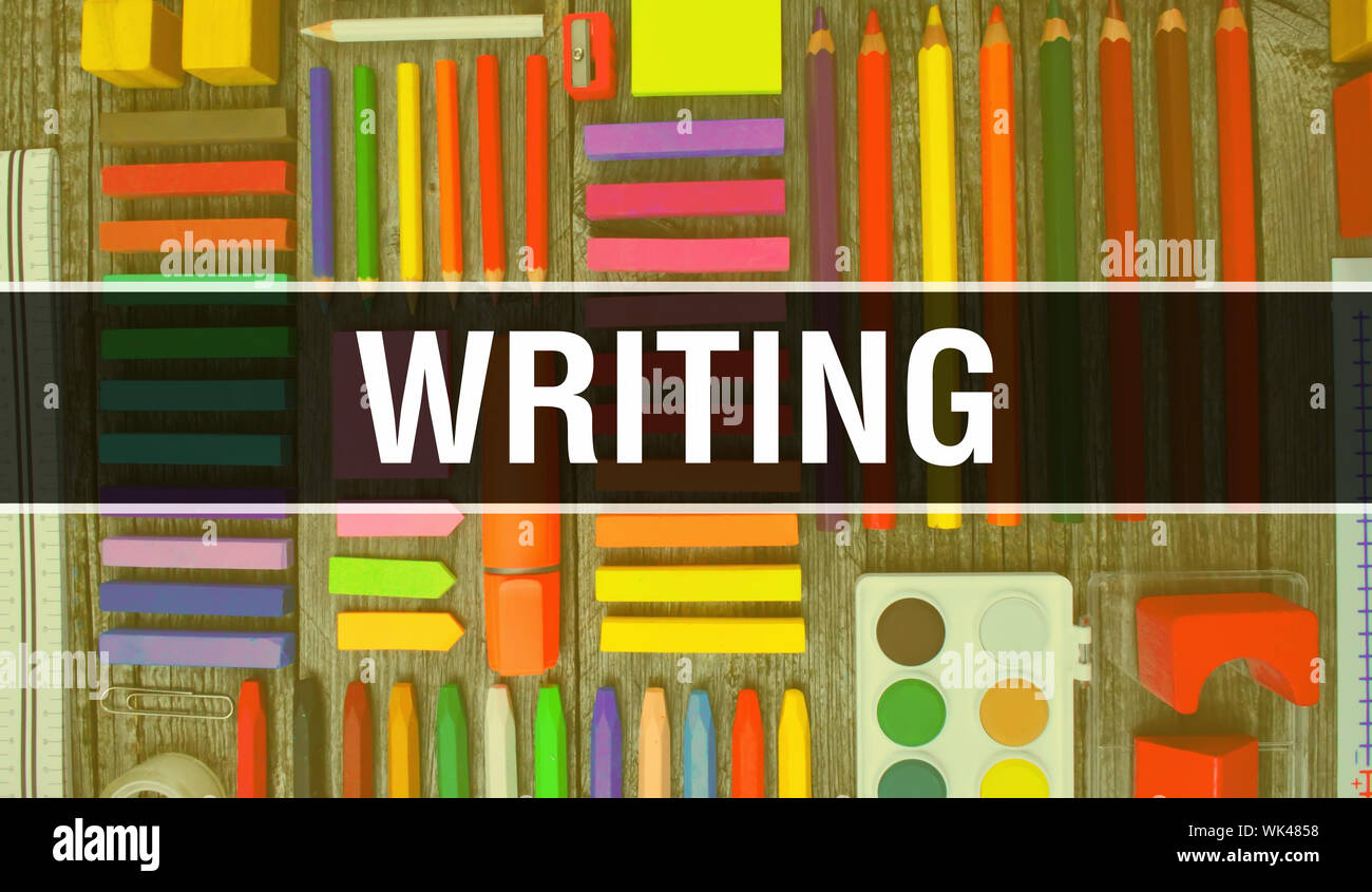 Writing Text With Back To School Wallpaper Writing And School Education Background Concept School Stationery And Writing Text Banner With Colorful P Stock Photo Alamy