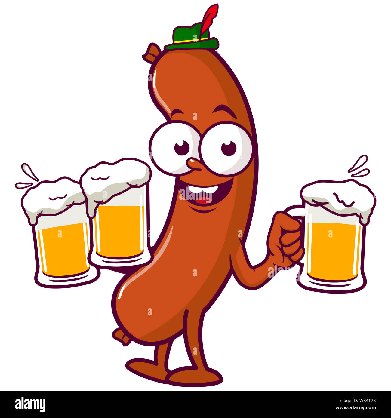 Cartoon sausage with a traditional German hat, holding cold glasses of beer at Oktoberfest. Stock Photo