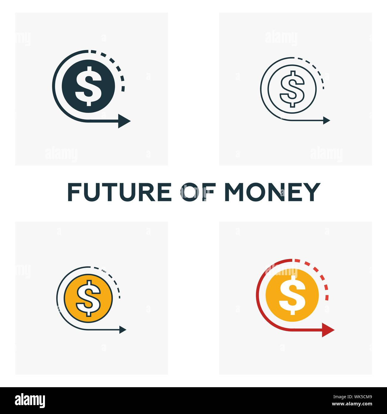 Future Of Money icon set. Four elements in diferent styles from fintech icons collection. Creative future of money icons filled, outline, colored and Stock Vector