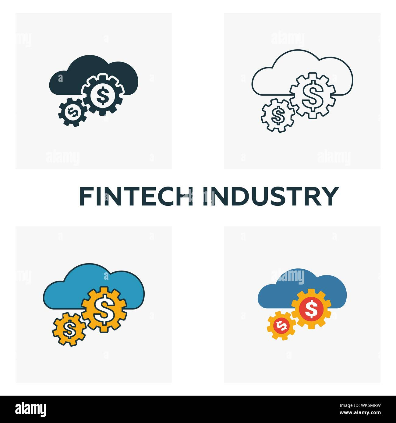 Fintech Industry icon set. Four elements in diferent styles from fintech icons collection. Creative fintech industry icons filled, outline, colored - Stock Photo