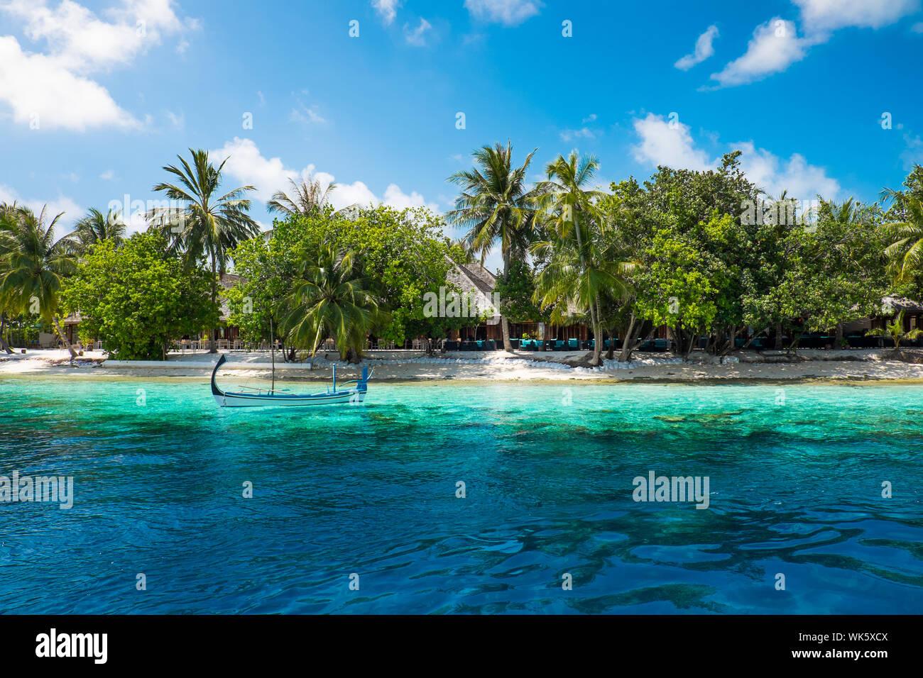 Hotel On The Island Maldives Indian Ocean Stock Photo