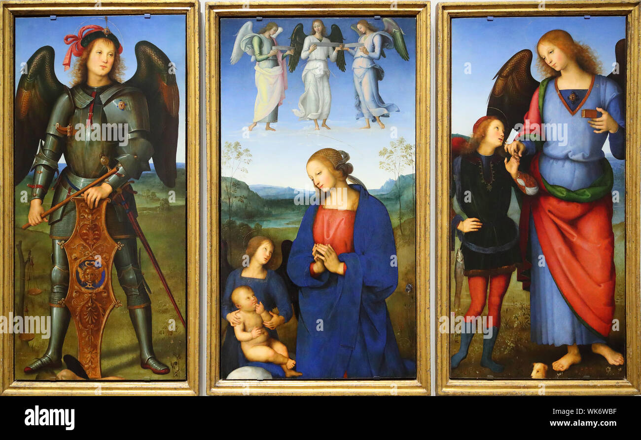 Three panels from an altarpiece painted by Pietro Perugino exhibited at the National Gallery, Trafalgar Square, London, UK Stock Photo