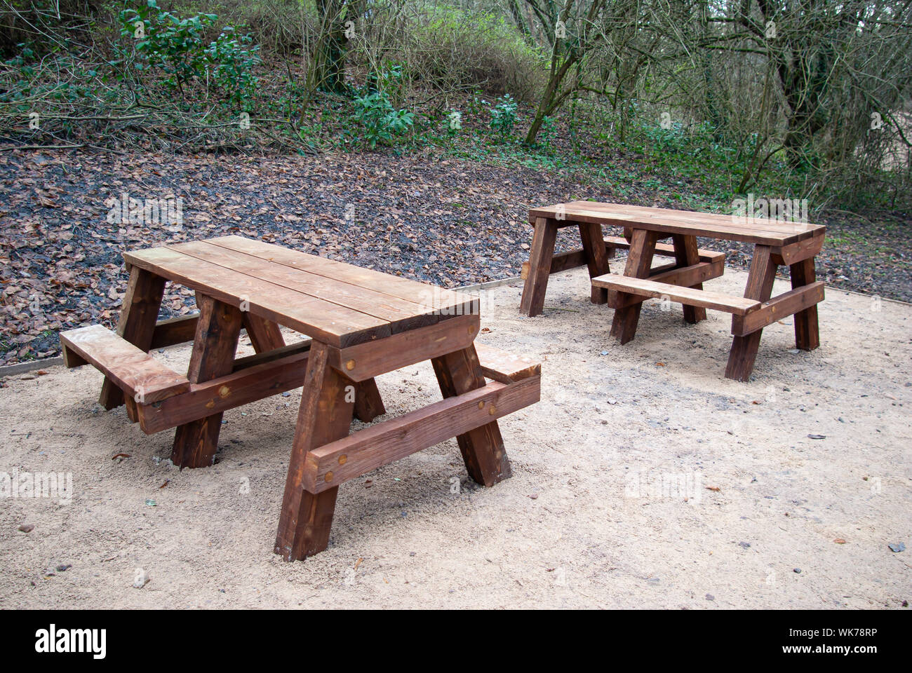 Miraculous Two Wooden Picnic Benches On A Gravel Base In A Wood Stock Machost Co Dining Chair Design Ideas Machostcouk