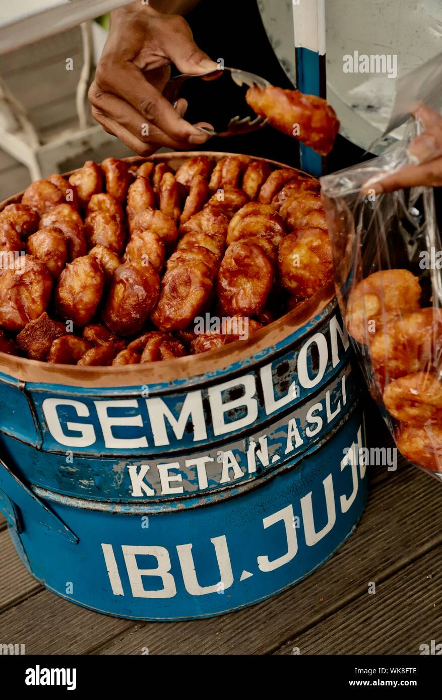 Gemblong. Fried glutinous rice buns from West Java, from a company of Ibu Juju Stock Photo