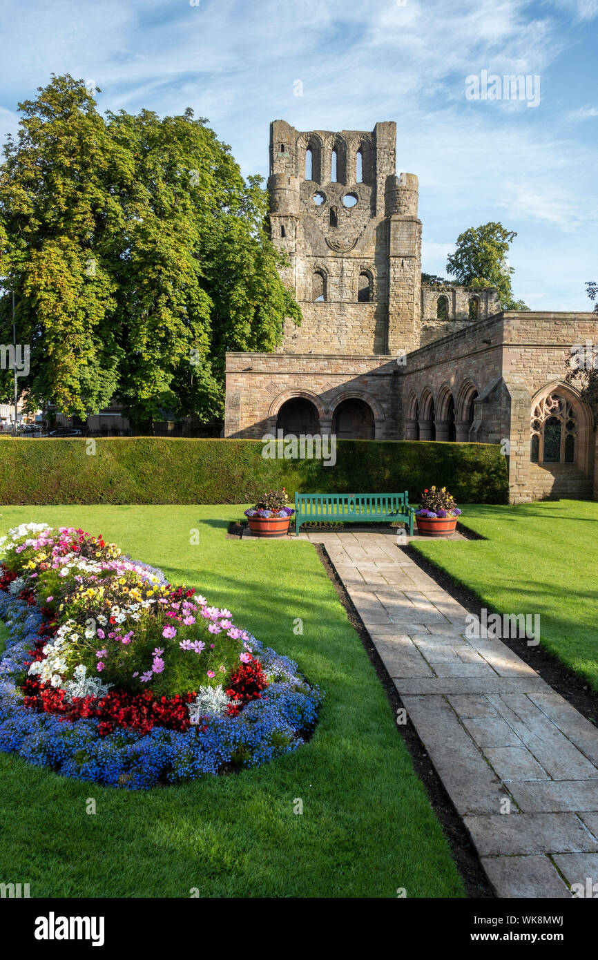 Ruins of Kelso Abbey viewed from the War Memorial Gardens, Kelso, Scottish Borders, Scotland, UK