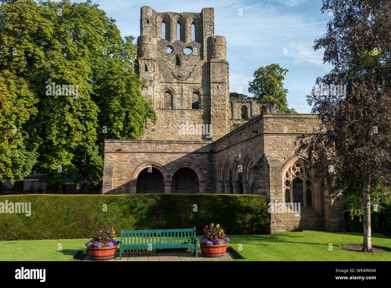 Ruins of Kelso Abbey viewed from the War Memorial Gardens, Kelso, Scottish Borders, Scotland, UK Stock Photo