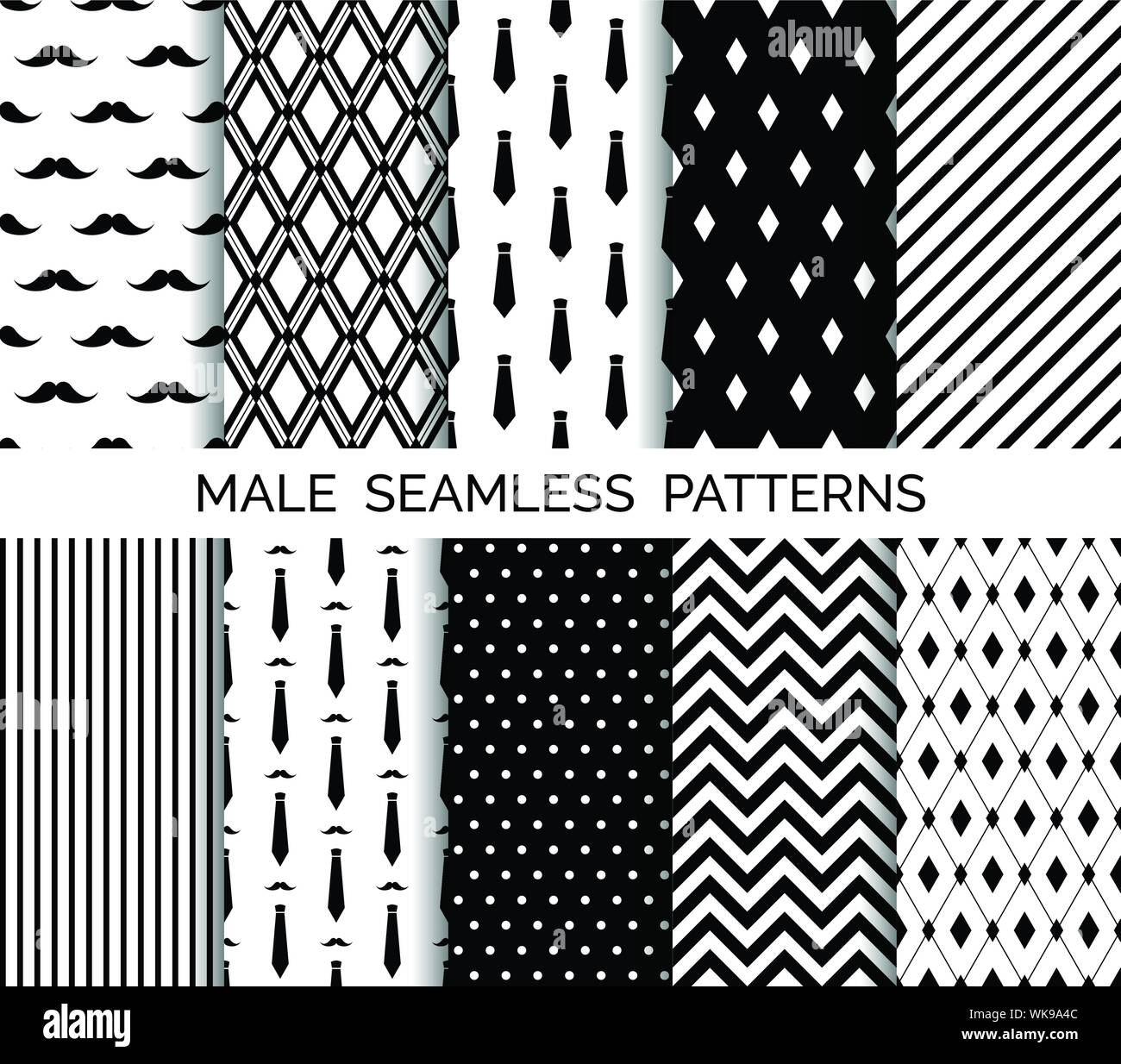 Set Of Printable Vector Male Seamless Patterns Wrapping