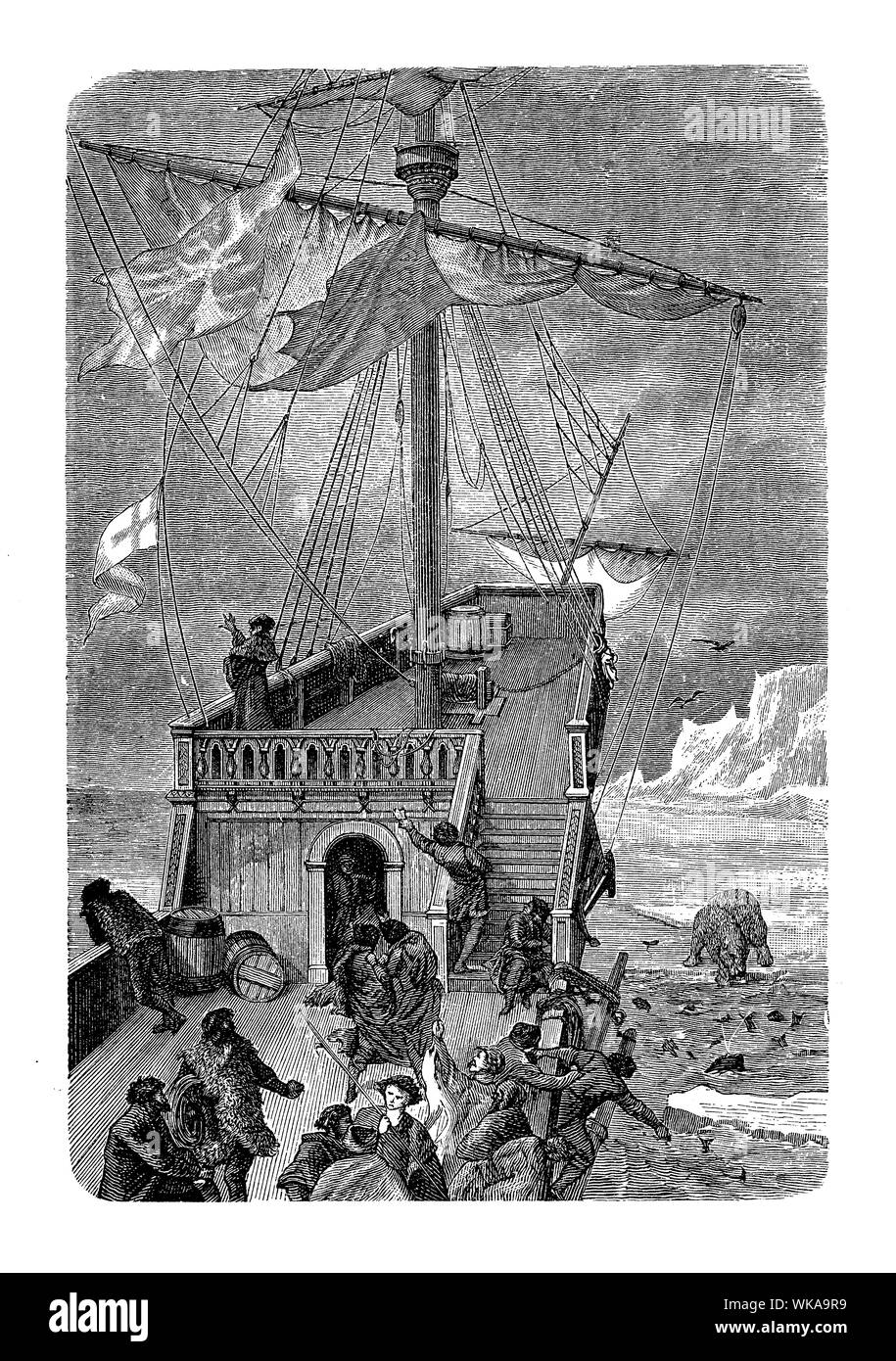 Sebastian Cabot ship leaves the Labrador coast in 15th century during a voyage of exploration of North America seeking the Northwest Passage Stock Photo
