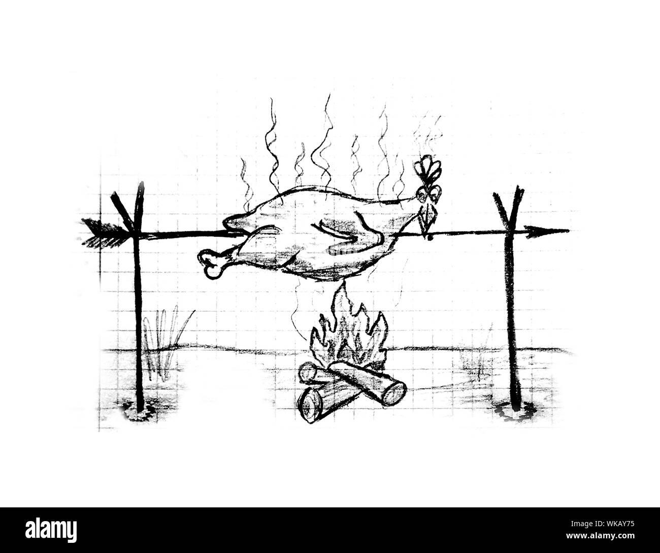 Roast chicken, illustration Stock Photo