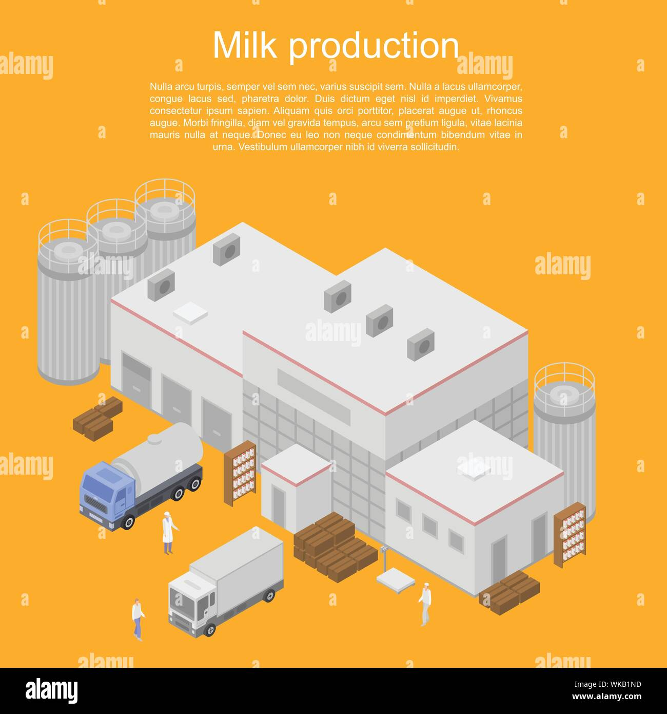 Milk production concept banner, isometric style Stock Vector