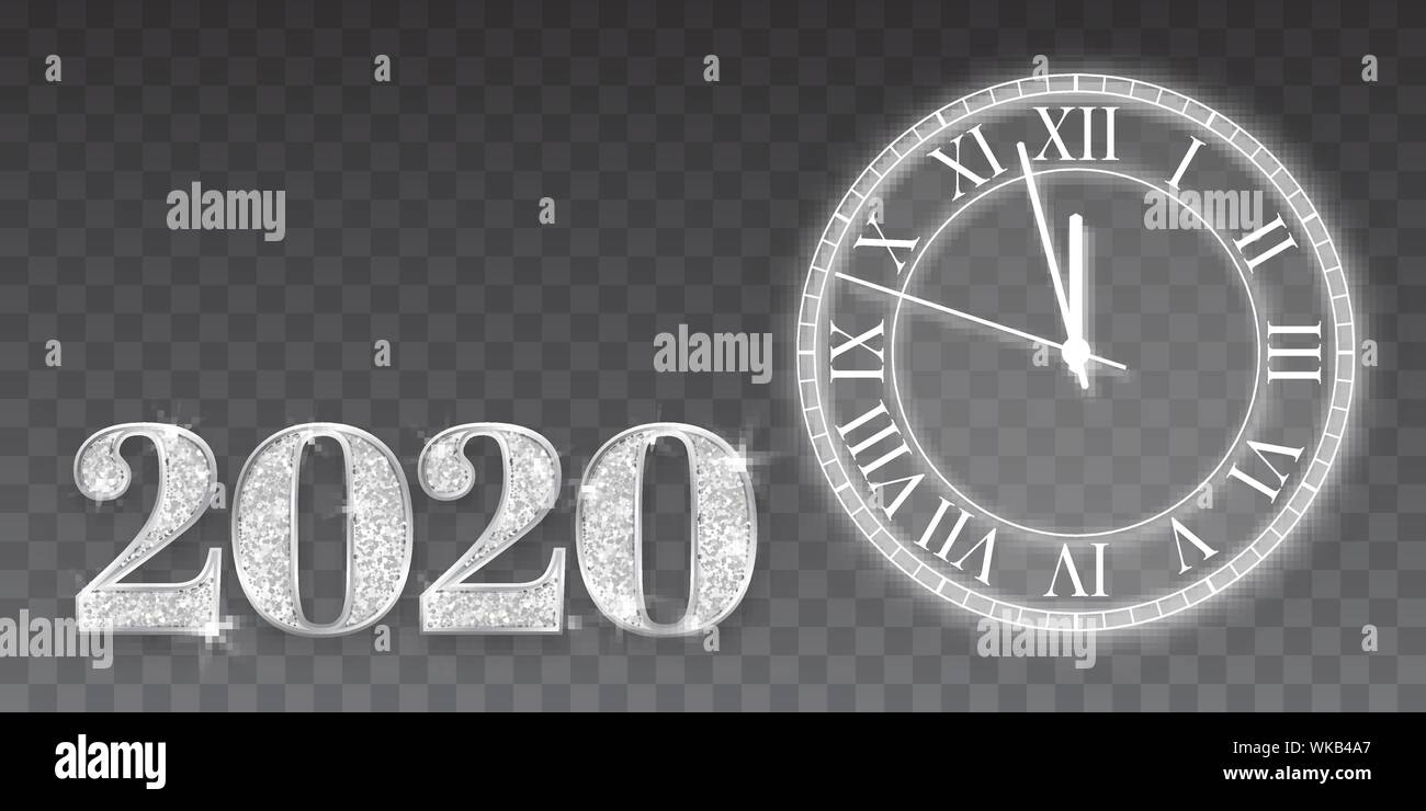 Christmas 2020 Silver Happy New Year and Marry Christmas 2020. Silver numbers design of