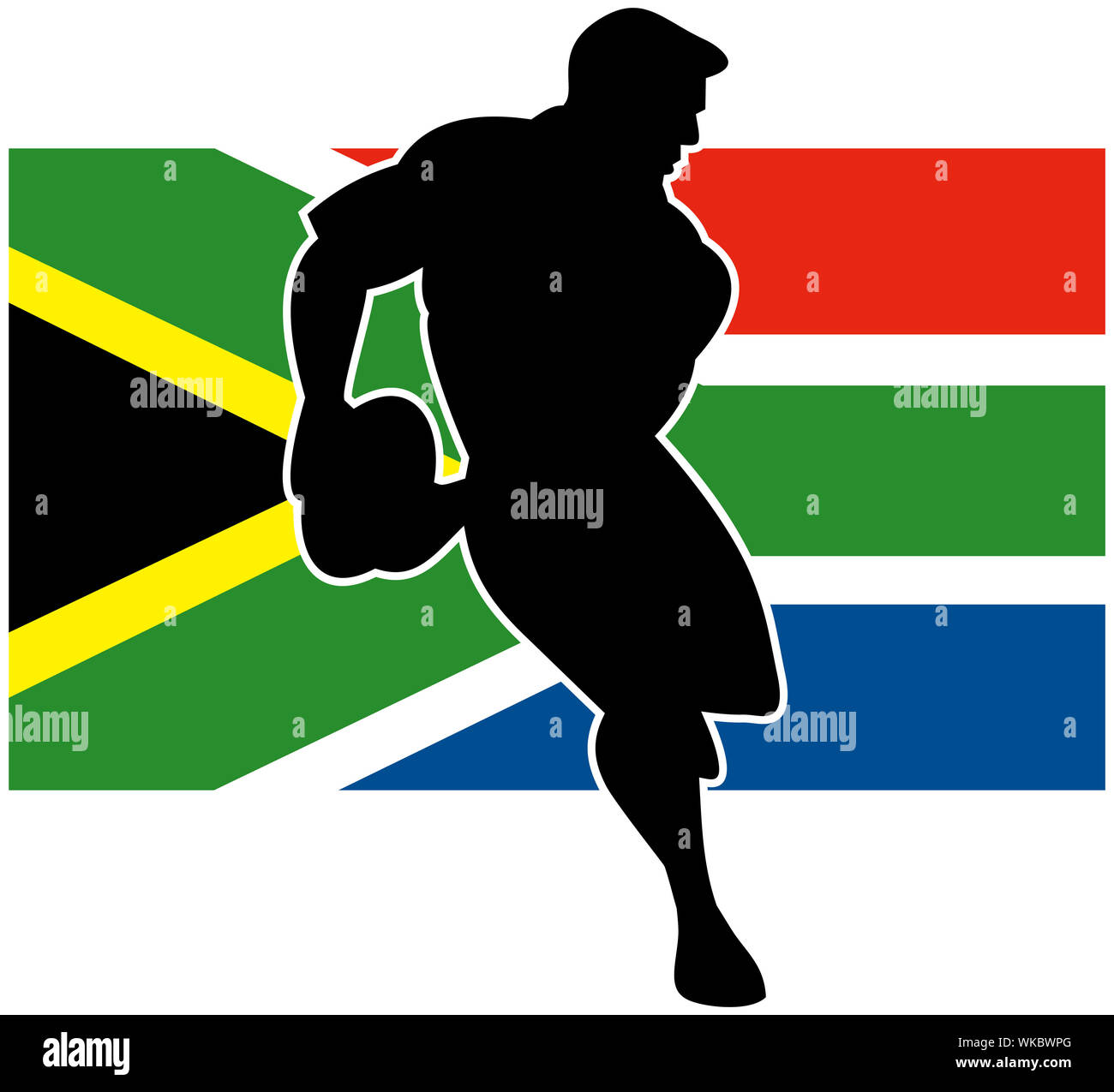 Illustration of a rugby player running passing ball with flag of South Africa in background Stock Photo