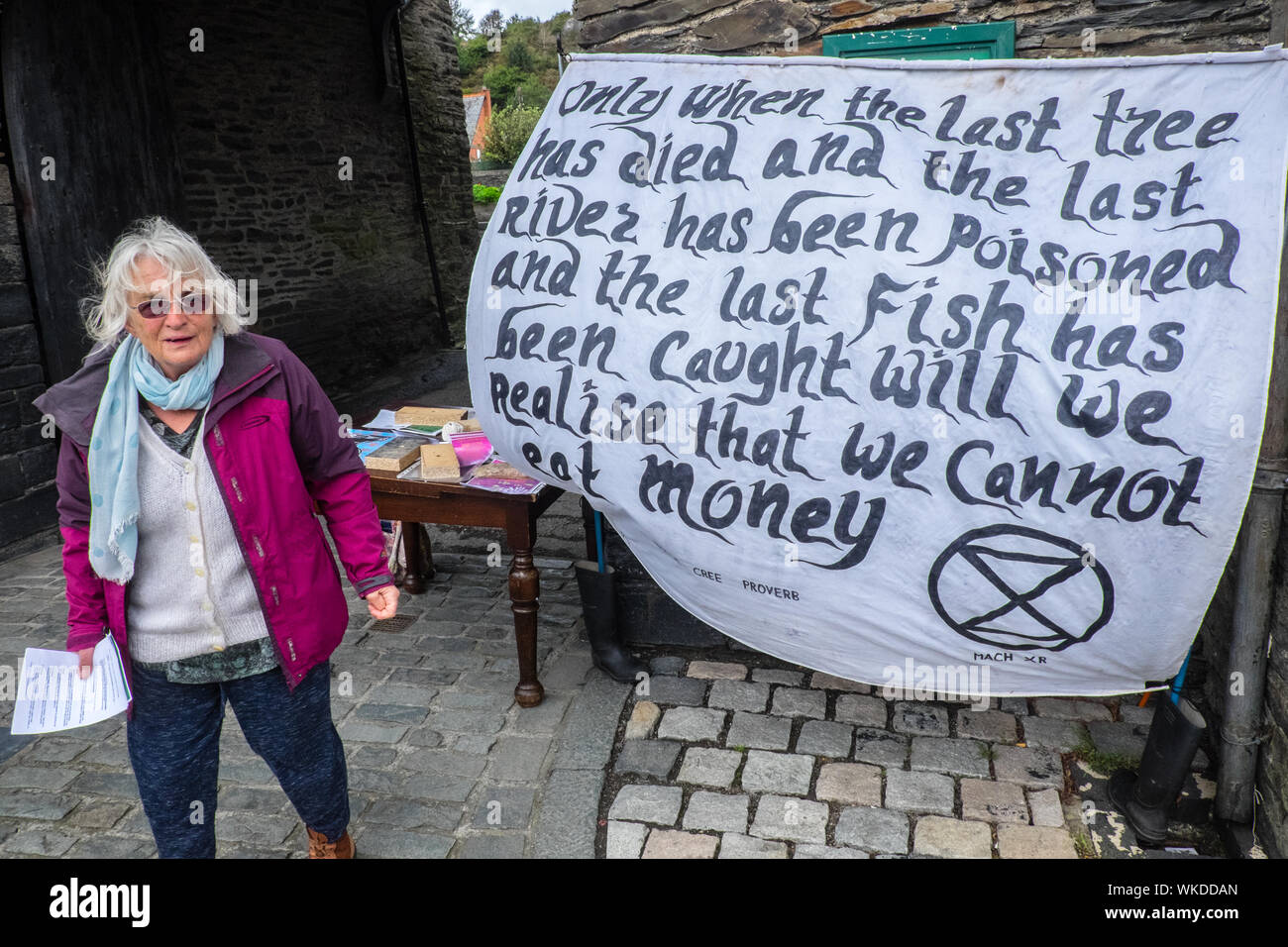 Extinction Rebellion,supporter,supporters,collecting,signatures,for,a,campaign,to,show, support,for,climate,emergency,awareness,in,Machynlleth,Wales Stock Photo