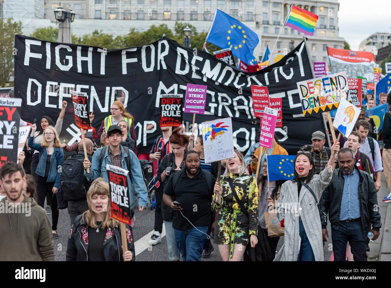 Protesters take to the streets as Parliament resumed after summer recess with new Prime Minister Boris Johnson debating No Deal Brexit and prorogue - Stock Photo