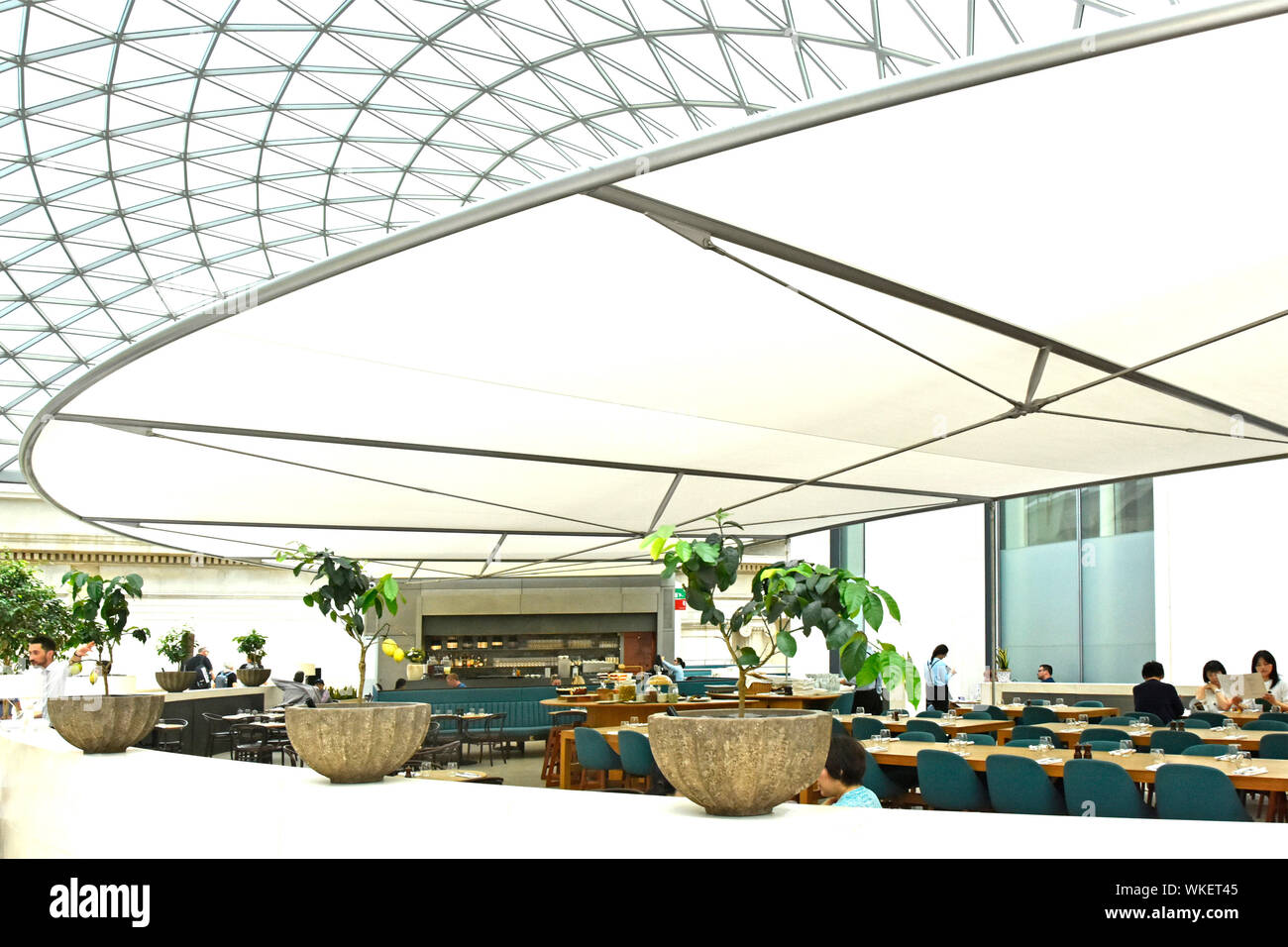 Curves Shapes Of Translucent Roof Canopy Design Modern British Museum Building Restaurant Interior Diners Seen Mid Day Holborn London England Uk Stock Photo Alamy