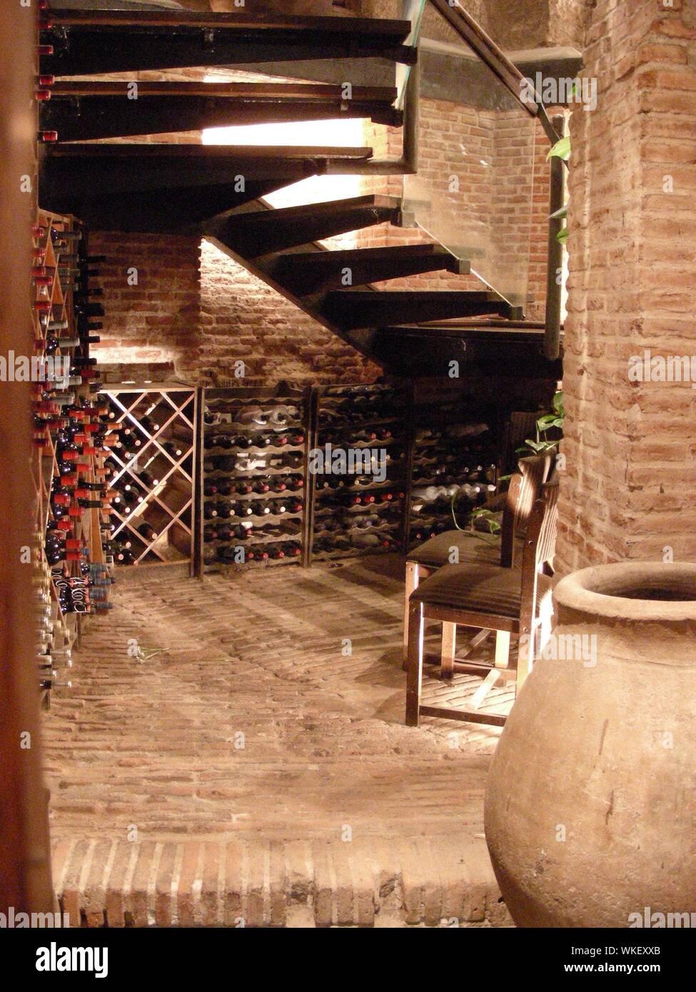 Interior Of Illuminated Wine Cellar Stock Photo