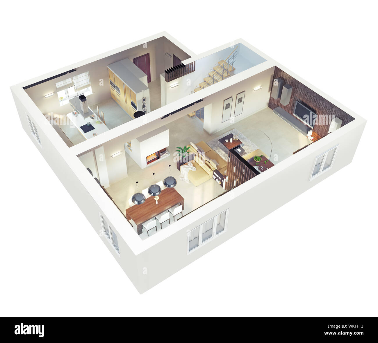 Plan view of an apartment.Ground floor. Clear 3d interior ...
