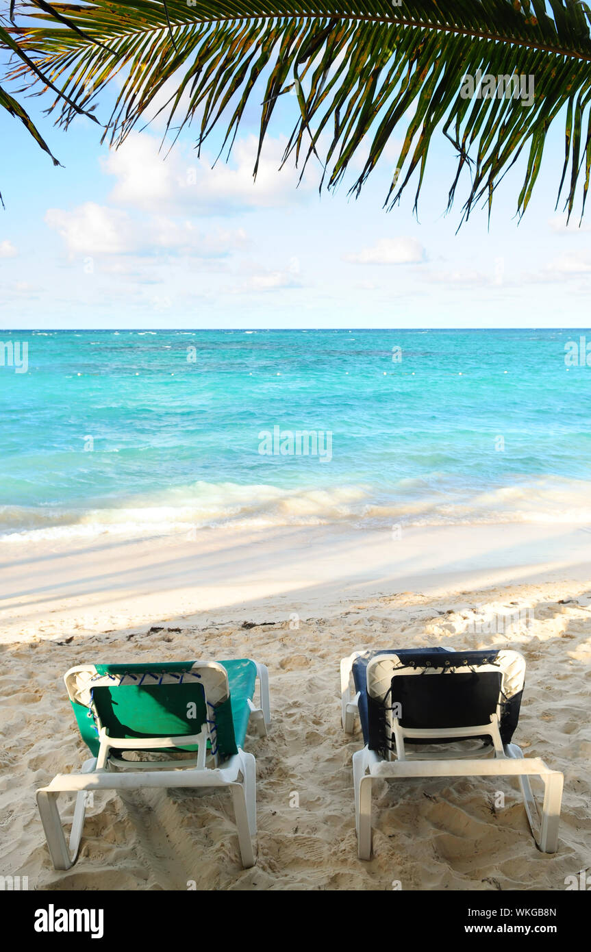Two beach chairs under a palm tree on the ocean shore in tropical resort Stock Photo