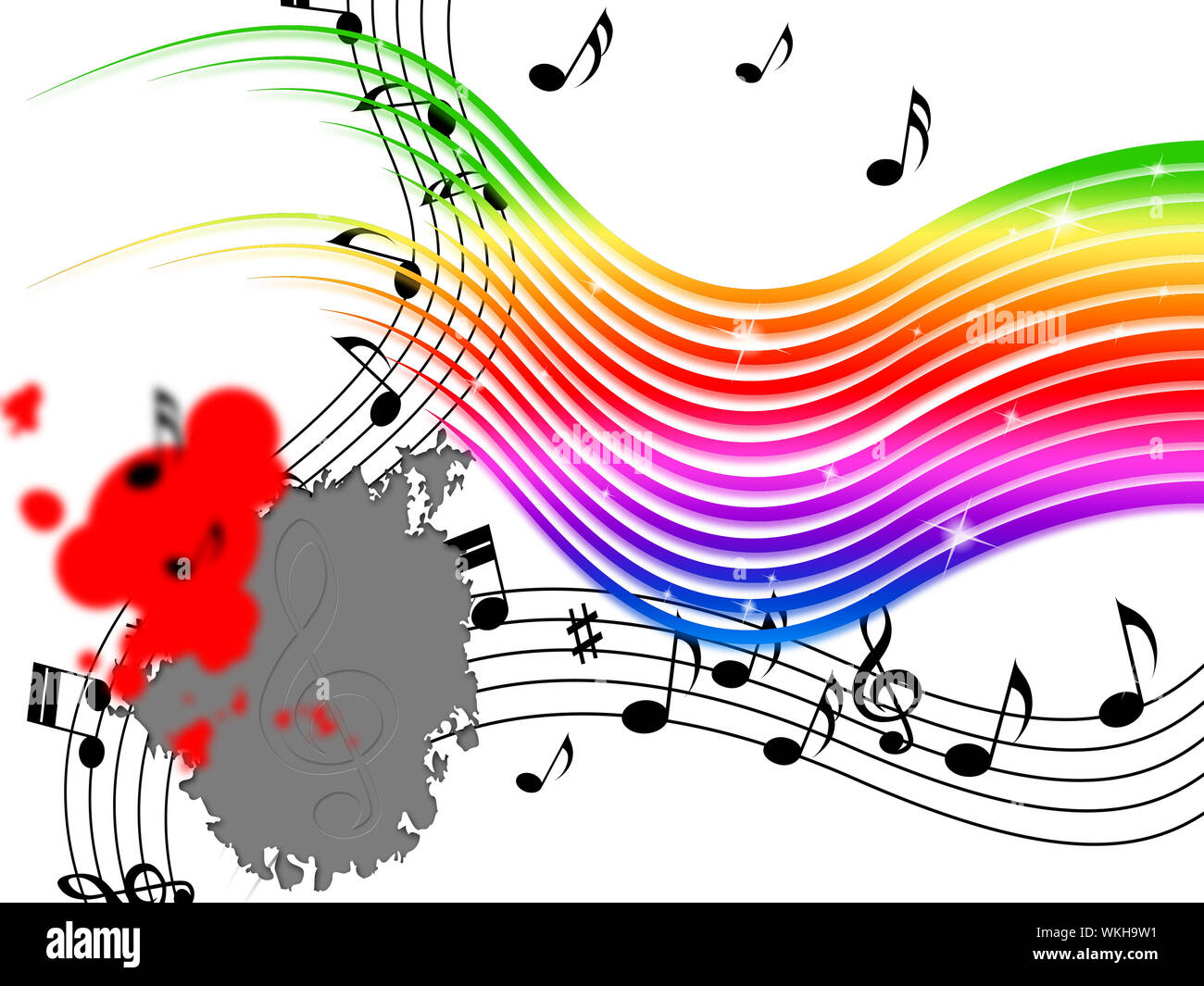 Rainbow Music Background Meaning Stripes And Playing Instruments Stock Photo Alamy