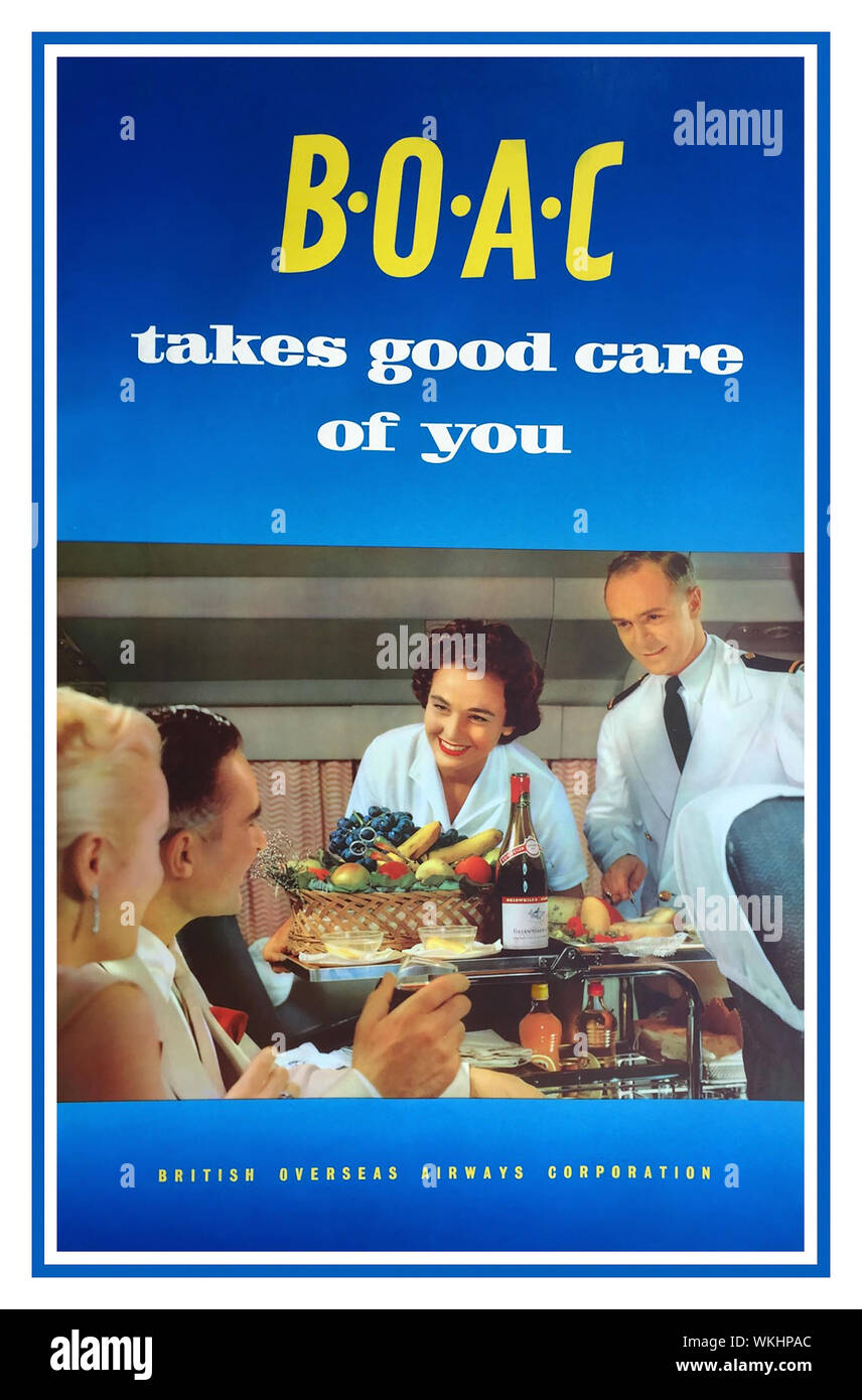 """1960's BOAC Vintage airline airways travel poster 1950's /1960s BOAC flight attendants steward and stewardess serve first class passengers with copious fruit and wine. Headline advertising strap line....   """"BOAC Takes Good Care of You"""". Golden age of flying British Overseas Airways Corporation. UK Stock Photo"""