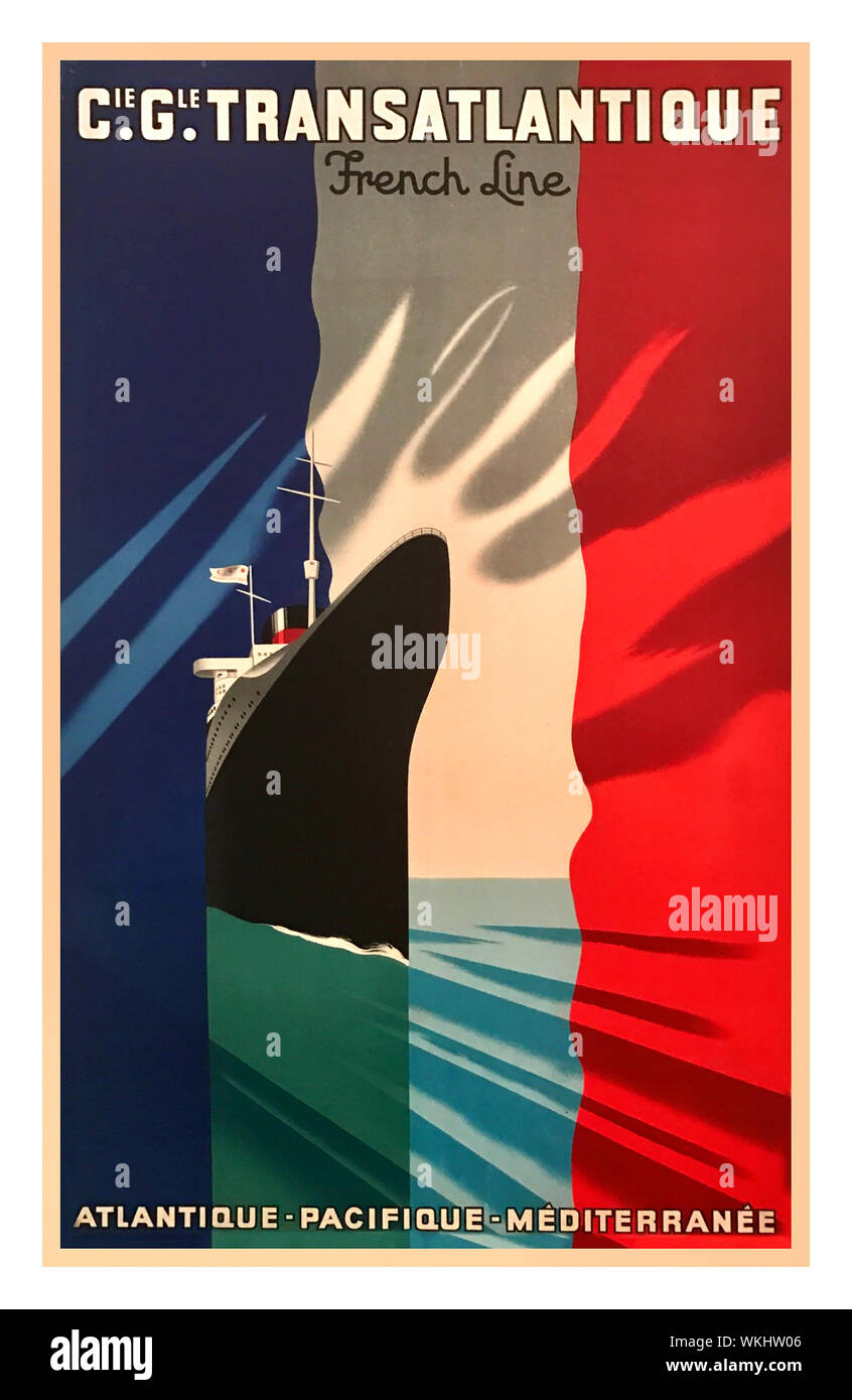 Cie Gle TRANSATLANTIQUE SS NORMANDIE FRENCH LINE French Travel Poster Art Deco