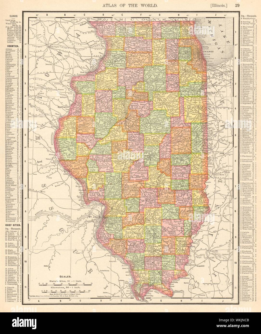 Illinois state map showing counties. RAND MCNALLY 1906 old ... on map of illinois cities, usa road maps with states and cities, illinois and iowa state map, illinois map springfield il, map of tennessee counties and cities, indiana cities, pa cities, midwest map with cities, illinois river map, map of kansas towns and cities, map of maryland counties and cities, chicago and surrounding cities, west virginia map counties and cities, us interstate highway map with cities, illinois map with all cities, rockford illinois map with cities, illinois streator il map, map of europe with capital cities, il state map with cities, map of ca cities,